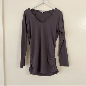 Standard James Perse Grey Long Sleeve Shirt Tunic Stretchy Ruched Side